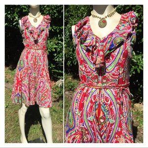 Ralph Lauren Red Paisley Print Dress